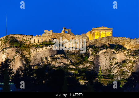 Athens, Greece.  Acropolis seen from Plaka and the Ancient Agora of Athens. - Stock Image