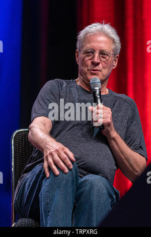 Bonn, Germany - June 8 2019: Bruce Boxleitner (*1950, actor, writer - Babylon 5) talks about his experiences in the movie industry at FedCon 28 - Stock Image