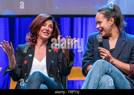 Bonn, Germany - June 8 2019: Shohreh Aghdashloo and Frankie Adams at FedCon 28, a four day sci-fi convention. FedCon 28 took place Jun 7-10 2019. - Stock Image