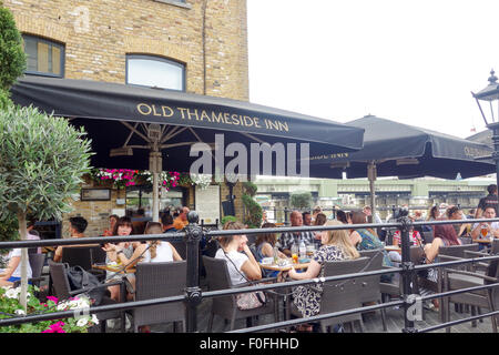 LONDON, UK - 9th August 2015: Old Thameside Inn is a riverside pub with nice views of the River Thames - Stock Image