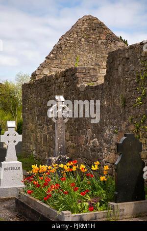 Ireland, Co Leitrim,  Jamestown, modern graves amongst ruins of old Franciscan Abbey - Stock Image