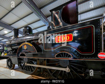 London North Western Railway No. 790 2-4-0 express passenger locomotive built Crewe  1873 on display in the Museum at Shildon - Stock Image