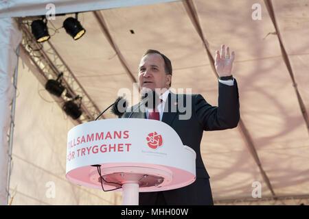 Stockholm, Sweden, 1st May, 2018. First May demonstration in Stockholm. PM Stefan Lofvén. Credit: Barbro Bergfeldt/Alamy Live News - Stock Image