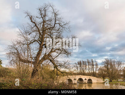 MIlton Ferry Bridge across the River Nene, on the verge of flooding, after heavy rainfall, near Ferry Meadows, Peterborough, - Stock Image