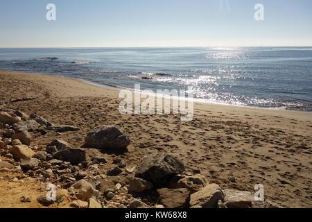 Beach and Sea, Puerto Banus, Marbella, Spain - Stock Image
