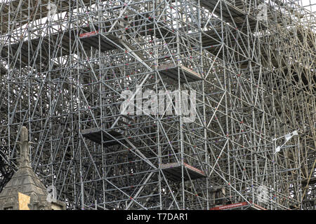 PARIS, FRANCE - 19 APRIL 2019 Notre Dame cathedral, after the timber roof caught fire. PARIS, FRANCE - 19 APRIL 2019 Notre Dame cathedral, after the t - Stock Image