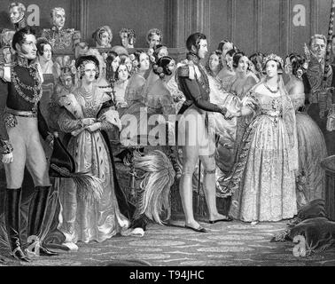 Wedding, marriage of Queen Victoria and Prince Albert, February 10, 1840, engraving by Charles Eden Wagstaff, 1844 - Stock Image