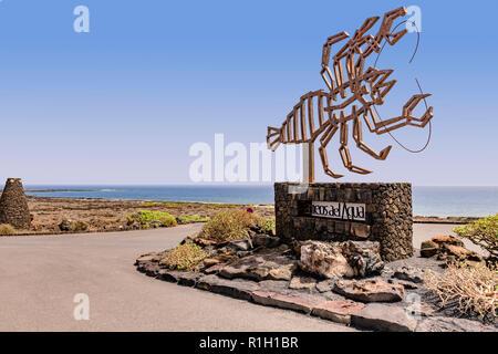 Lobster sculpture at the entrance to Jameos del aqua, Lanzarote Canary islands - Stock Image