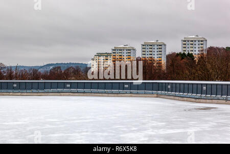 Distant view of generic high rise apartment buildings - Stock Image