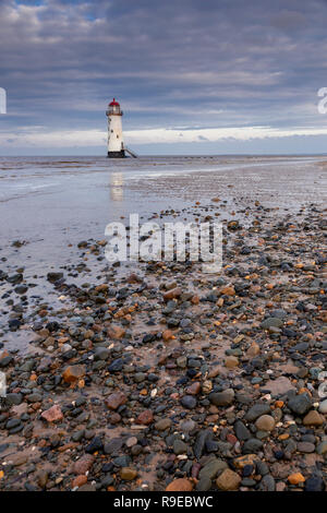 Point of Ayr lighthouse on Talacre beach on the North Wales coast - Stock Image