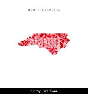 I Love North Carolina. Red Hearts Pattern Vector Map of North Carolina - Stock Image
