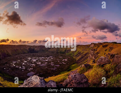 Crater of Rano Kau Volcano at sunset, Easter Island, Chile - Stock Image