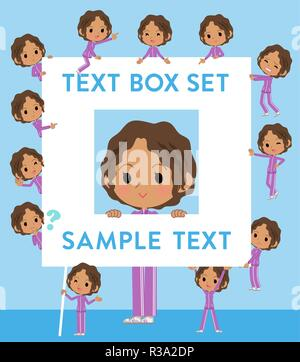 A set of women in sportswear with a message board.Since each is divided, you can move it freely.It's vector art so it's easy to edit. - Stock Image