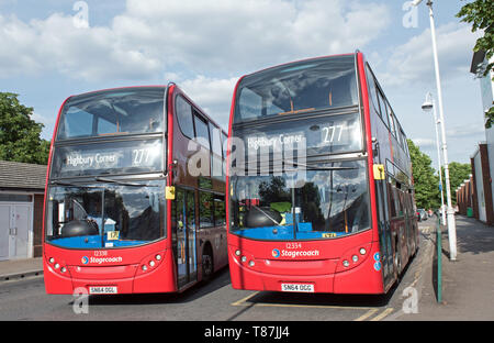 Two number 277 double decker buses destination Highbury Corner, Crossharbour Bus Station, Isle of Dogs, London Borough of Tower Hamlets, England UK - Stock Image