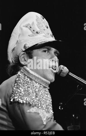 Elton John performing in concert at the Birmingham Odeon during his 'Jump Up Tour'. 22nd November 1982. - Stock Image
