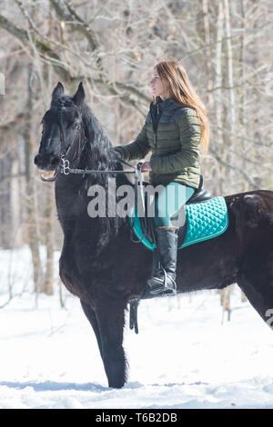 A winter forest. A woman with long wearing green jacket hair riding a dark brown horse - Stock Image