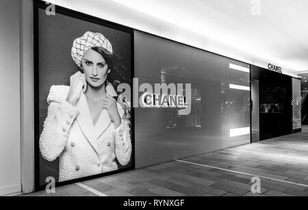 New York, 3/11/2019: Chanel advertisement on one of the floors of Bloomingdale's department store in Manhattan. - Stock Image