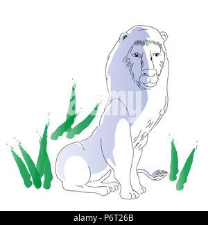 sitting lion.  illustration of sitting African  big lion, wildlife concept. - Stock Image