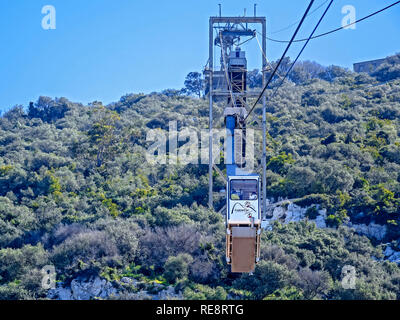 Cable Car Descending From The Top Of The Rock Gibraltar - Stock Image