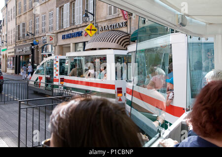Tourist sight seeing train Beaune Burgundy France - Stock Image