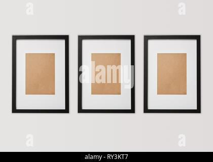 black blank square frames on white background - Stock Image