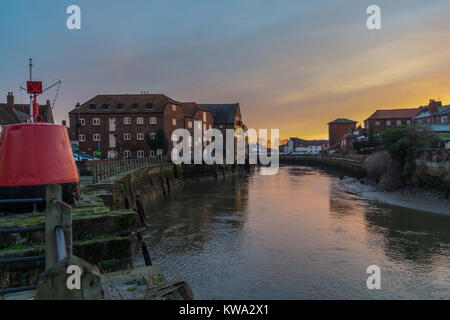 South End Quay, The Haven River Witham, Boston, Lincolnshire, England at sunset - Stock Image