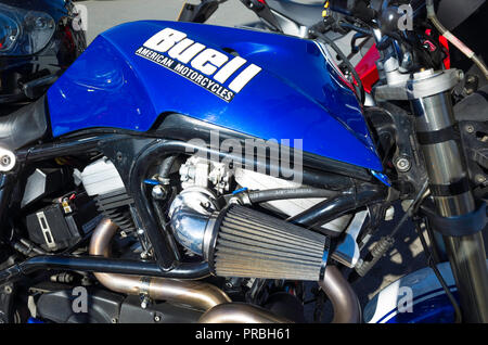 Close up of the engine of a 1999 Buell X1 Lightning American Motor Cycle - Stock Image