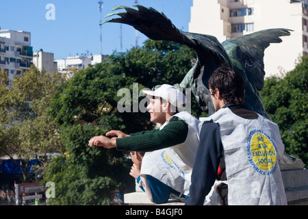 Protestors outside the Palacio del Congreso in Buenos Aires - Stock Image