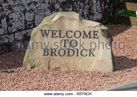 Welcoming stone sign in Brodick on the Isle of Arran in Scotland, UK. - Stock Image