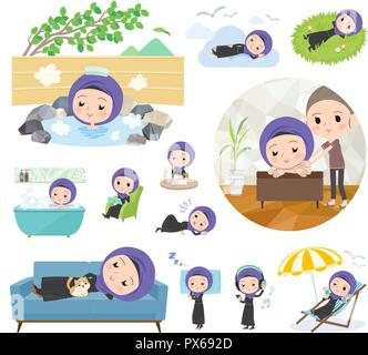 A set of women wearing hijab about relaxing.There are actions such as vacation and stress relief.It's vector art so it's easy to edit. - Stock Image