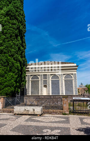 Rome, Italy - 24 June 2018: The ancient ruins at the Roman Forum, Palatine hill in Rome - Stock Image