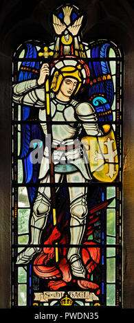 Saint Michael, detail of Keesey War Memorial window, 1947. Church of Saint Mark, Natland, Cumbria, England, United Kingdom, Europe. - Stock Image