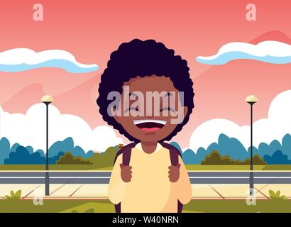 school boy with bag in the park vector illustration - Stock Image