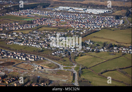 An aerial view of the area around Newcastle Castle Bridgend, South Wales - Stock Image