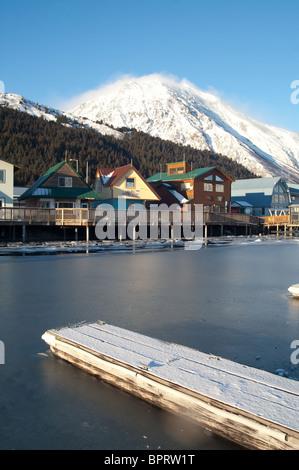 Seward Alaska Resurrection Bay with boats and Marina - Stock Image