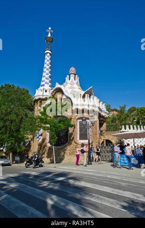 The Pavilion at the entrance of Park Güell, Barcelona, Spain - Stock Image