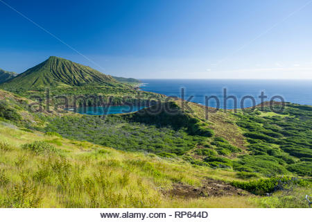Koko Head Crater above Hanauma Bay with Nono'ula Crater in the foreground, Koko Head District Park, Hawaii Kai, Oahu, Hawaii, USA - Stock Image