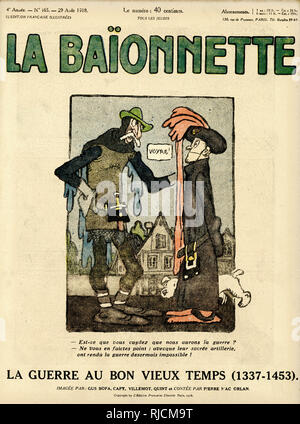 Front cover design for La Baionnette, The War in the Good Old Days (1337-1453, the Hundred Years War). Thinkest thou that we shall have war? Worry not, with their blessed weapons war is henceforth impossible! - Stock Image