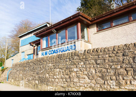H.M. Coasguard station at Arnside, Cumbria. The station is sited on the estuary of the River Kent in the north east corner of Morecambe Bay. Morecambe - Stock Image
