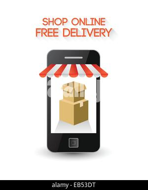 Online shopping on smartphone screen - Stock Image