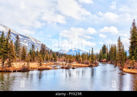 Autumn view of Policeman's Creek Boardwalk, a hiking trail in the town of Canmore, Alberta, that follows a river with the snow-covered Canadian Rockie - Stock Image