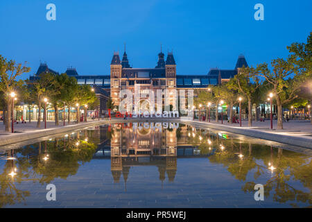 Rijksmuseum Amsterdam at the Museum Square (Museumplein) in Amsterdam, The Netherlands. Architect Pierre Cuypers. - Stock Image