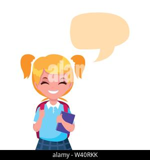 school girl with bag talk bubble vector illustration - Stock Image