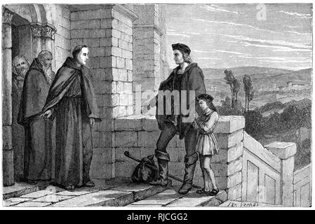 Christopher Columbus demanding Hospitality at the door of La Rabida Monastery. Columbus stands at the door to the monastery with his son, demanding hospitality from the three monks at the entrance. - Stock Image