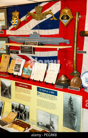 UK, Wales, Anglesey, Holy Island, Holyhead, Maritime Museum, ill-fated Thetis submarine display - Stock Image