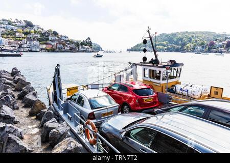 Dartmouth car ferry, River Dart, UK, Kingswear dartmouth , dartmouth Kingswear, Dartmouth, Devon, UK, England, Kingswear, Kingswear car ferry, ferry, - Stock Image