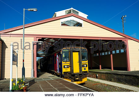 Frome railway station - showing the exterior of the historic timber train shed roof structure. Frome, Somerset, - Stock Image