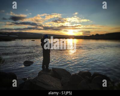 Evening fishing - Stock Image