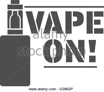 Emblem or poster of an electronic cigarette - Stock Image