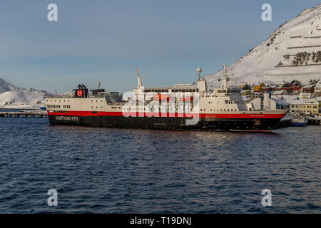 The Hurtigruten cruise ship Vesteralen in the port town of Honningsvag in Norway. - Stock Image